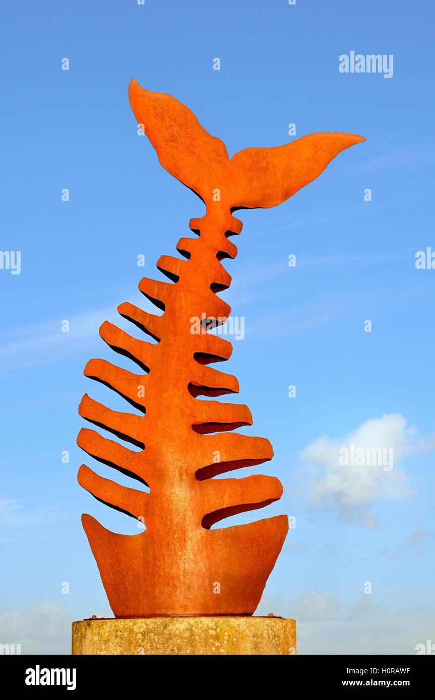 Fishbone sculpture, Greetsiel Harbour gateway, Lower Saxony, Germany Stock Photo