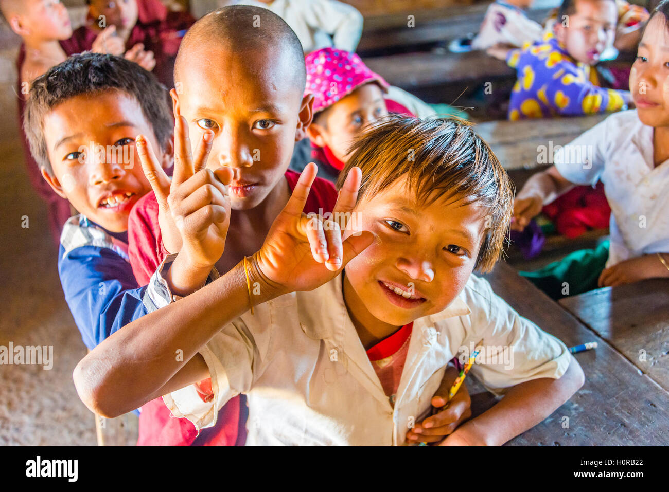 School children at school, posing for camera, Shan State, Myanmar - Stock Image