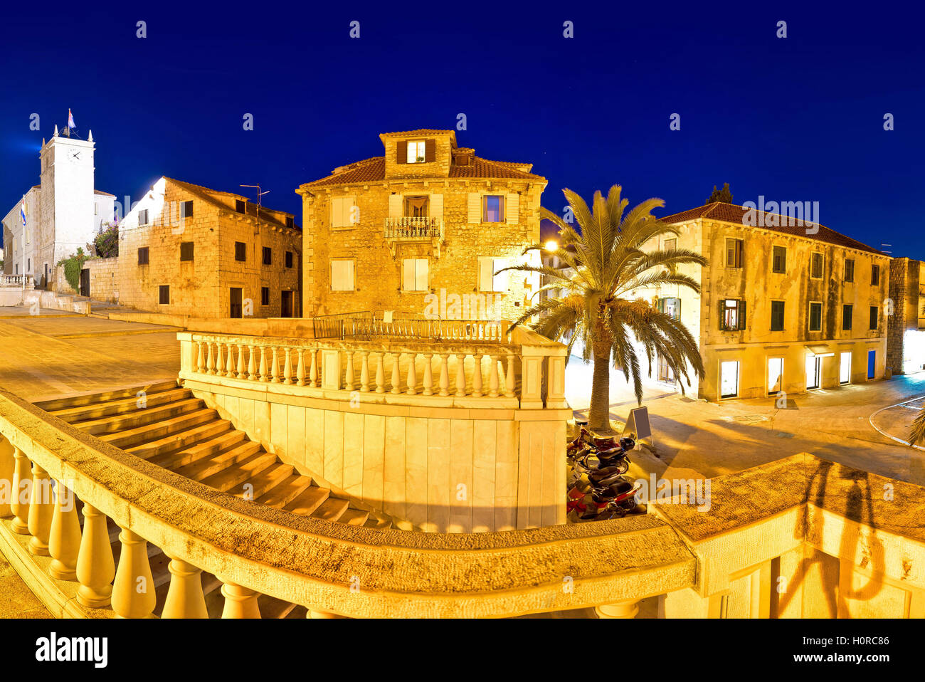 Supetar old stone square evening view, island of Brac, Dalmatia, Croatia Stock Photo
