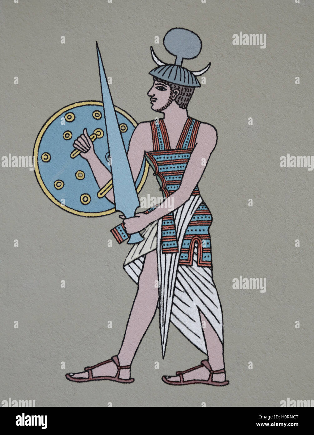 Ancient Egypt. Military. Mercenary soldier who were employed by the Egyptian.  Called Shairetana. Engraving. Colored. - Stock Image
