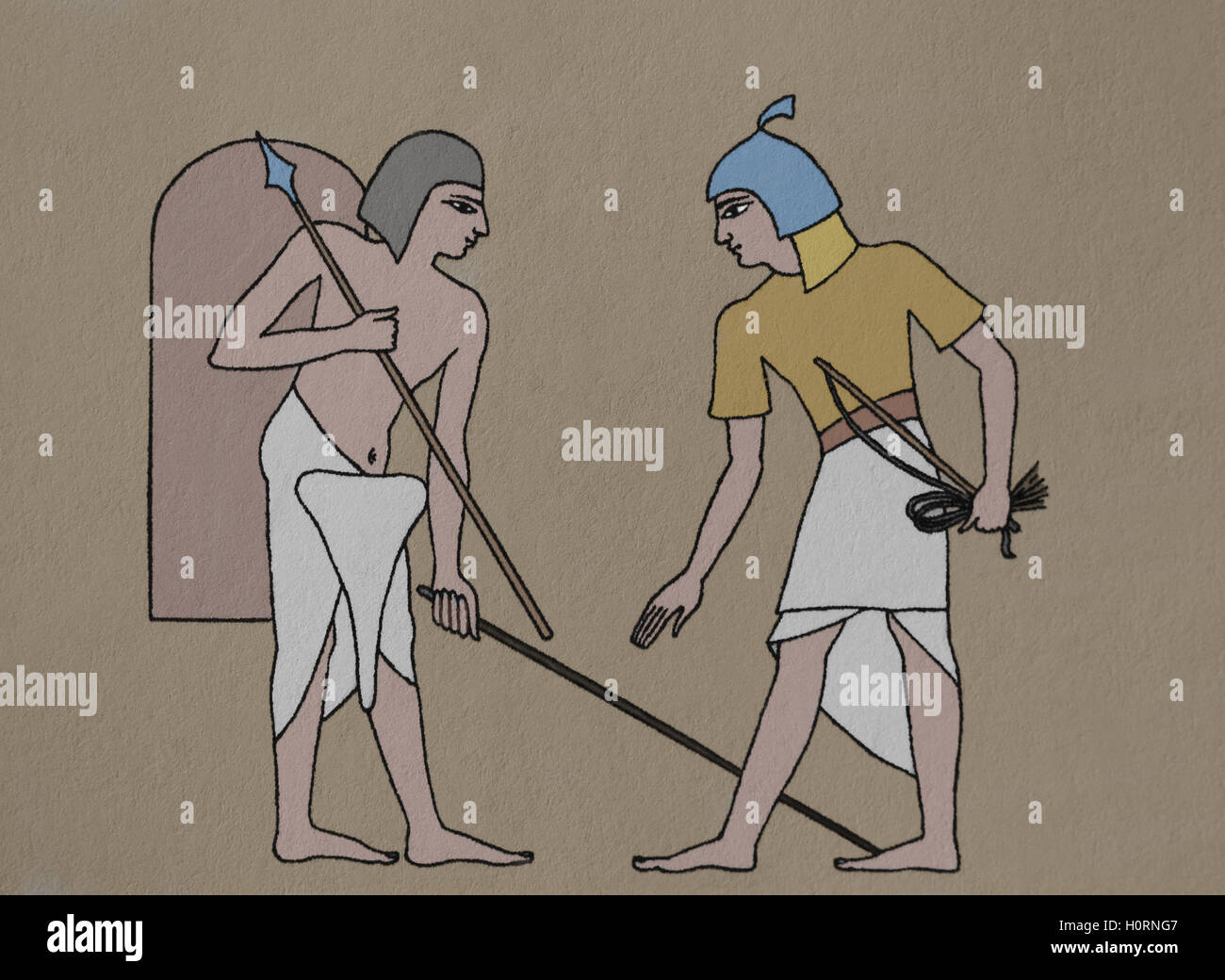Ancient Egypt. Soldiers. Engraving. Color. 19th century. - Stock Image