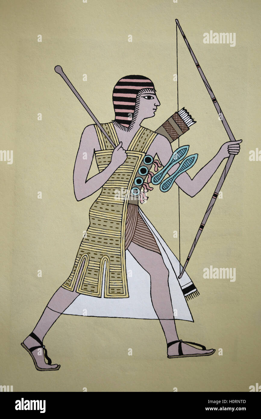 Ancient Egypt. Army. Officer of high rank. Engraving. Color. 19th century. - Stock Image
