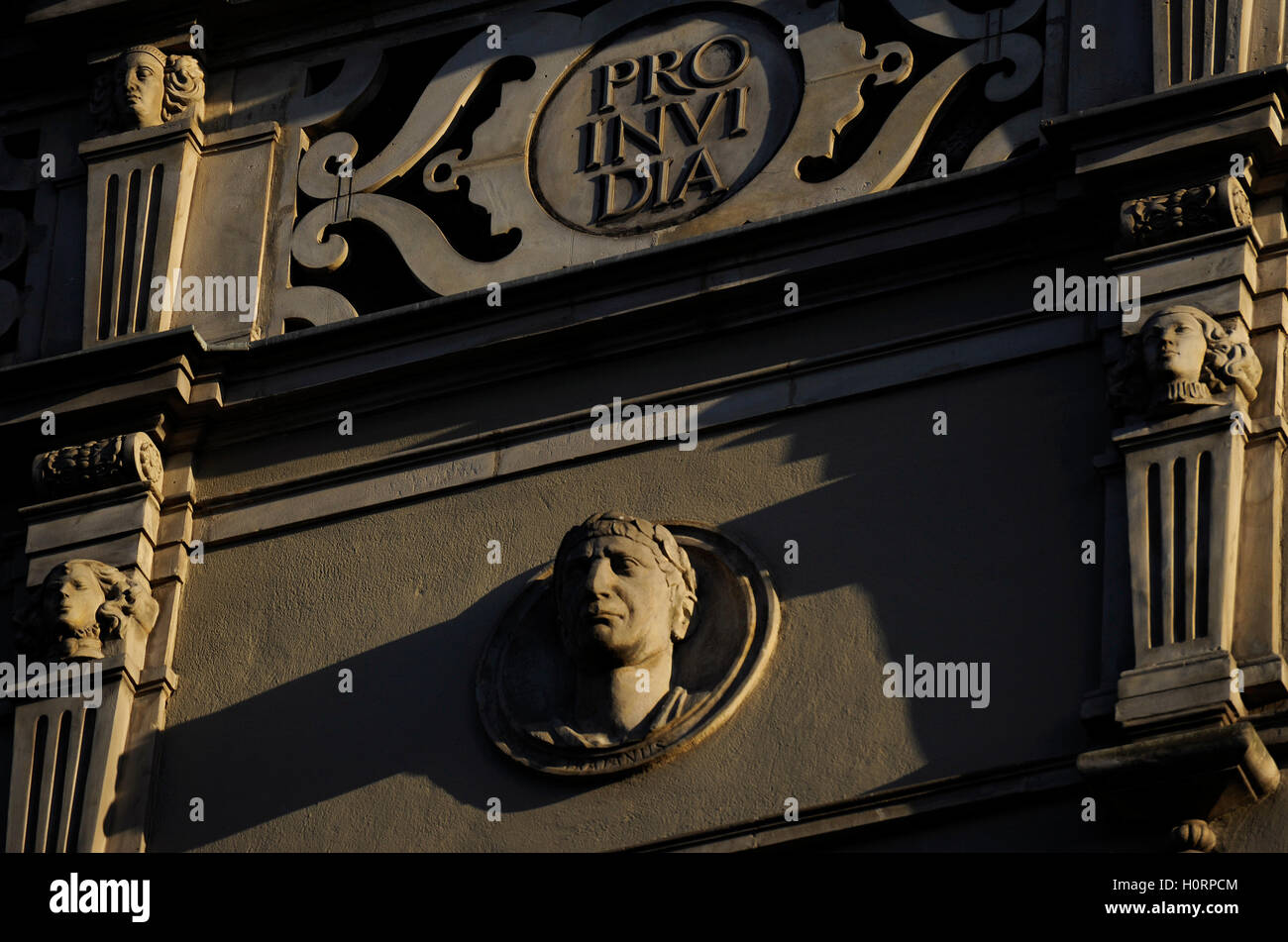 Poland. Gdansk. City centre. Facade decorated with medallions of Roman emperors. Detail. Stock Photo