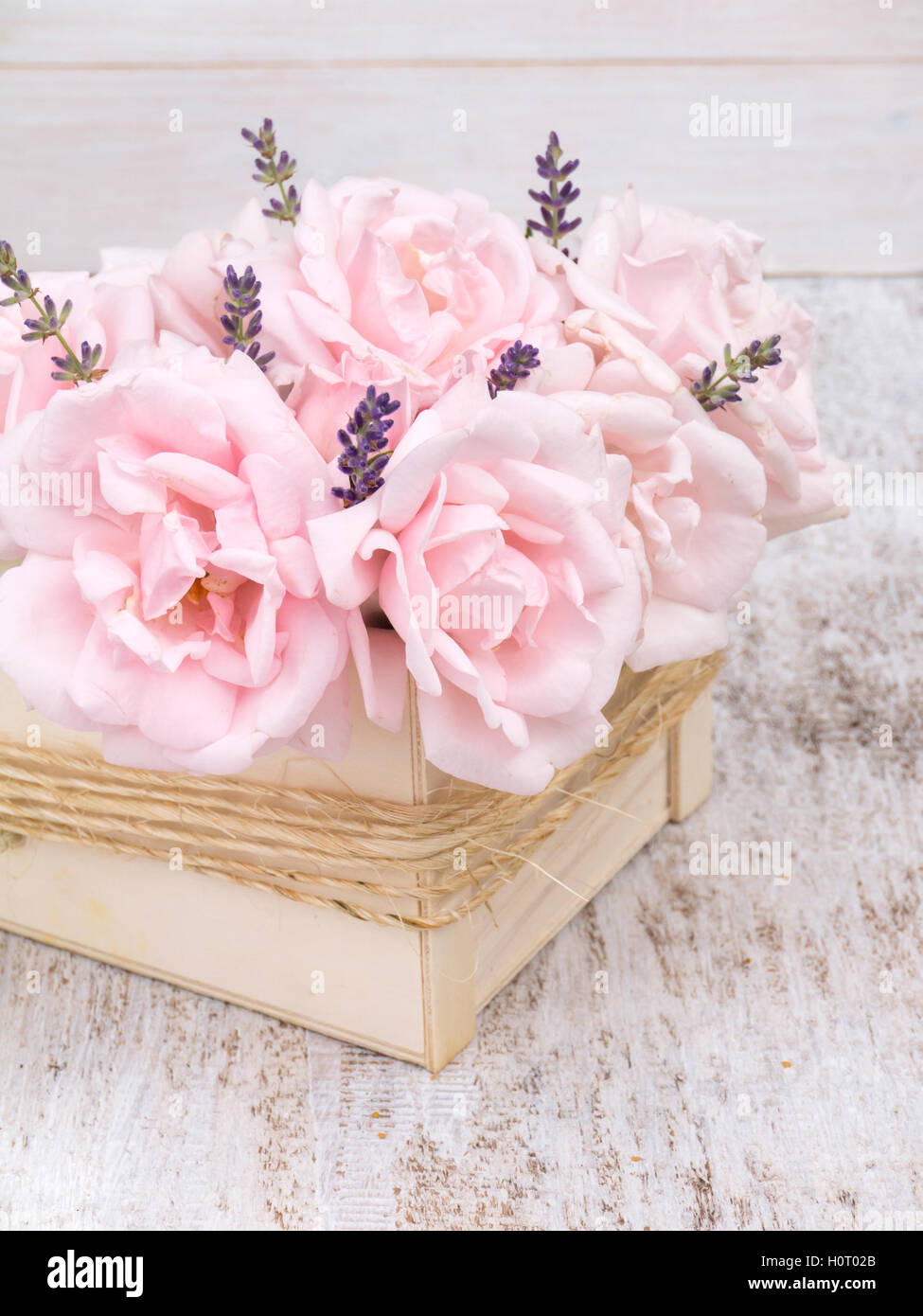 Pale Pink Roses And Lavender Bouquet In The Wooden Box Tied With