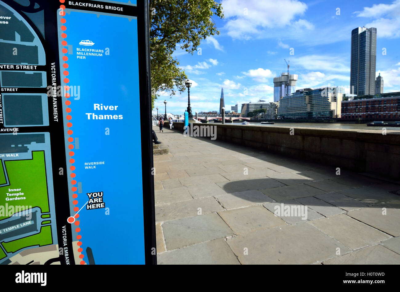 London, England, UK. 'You are here' tourist information map on the Victoria Embankment by the River Thames. - Stock Image