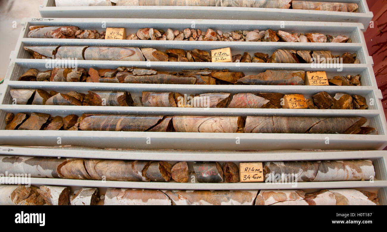 Core Rocks for Gold Exploration - Stock Image