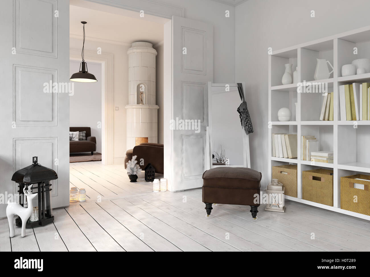 3d render of apartment living room with bookshelf floor mirror in stock photo 121001225 alamy. Black Bedroom Furniture Sets. Home Design Ideas