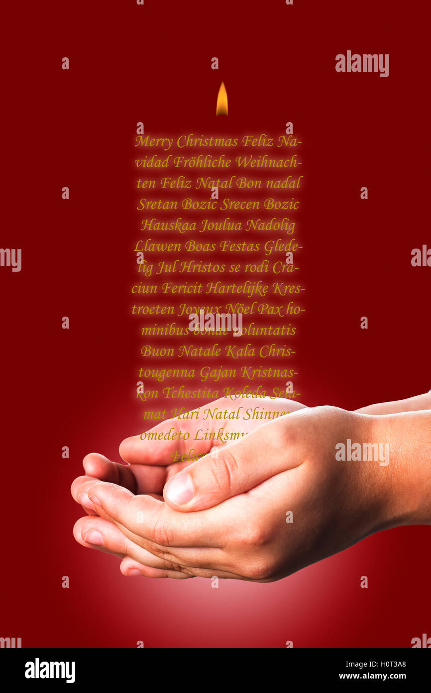 Christmas greeting card with a candle made of words on a child hands christmas greeting card with a candle made of words on a child hands over a red background m4hsunfo