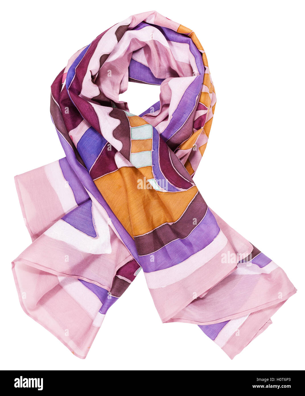 knotted scarf from pink painted silk batik isolated on white background - Stock Image