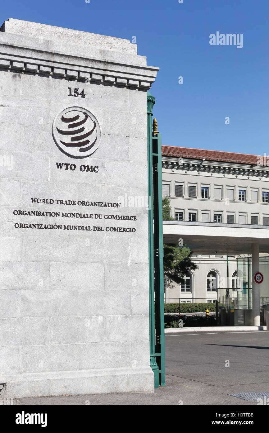 The World Trade Organization entrance and building in Geneva, Switzerland - Stock Image