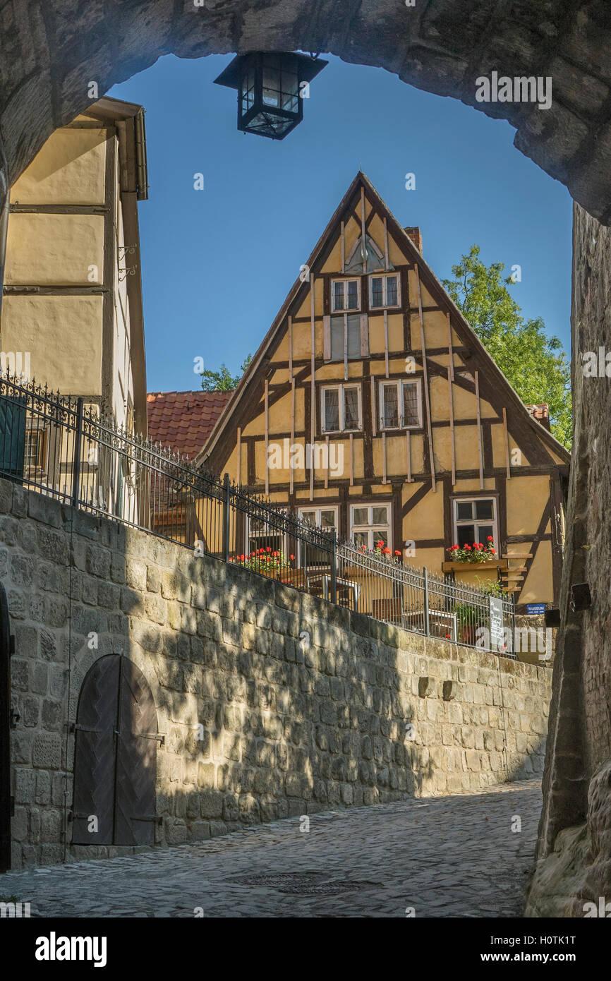 Germany, Saxony-Anhalt, Quedlinburg, castle entrance - Stock Image