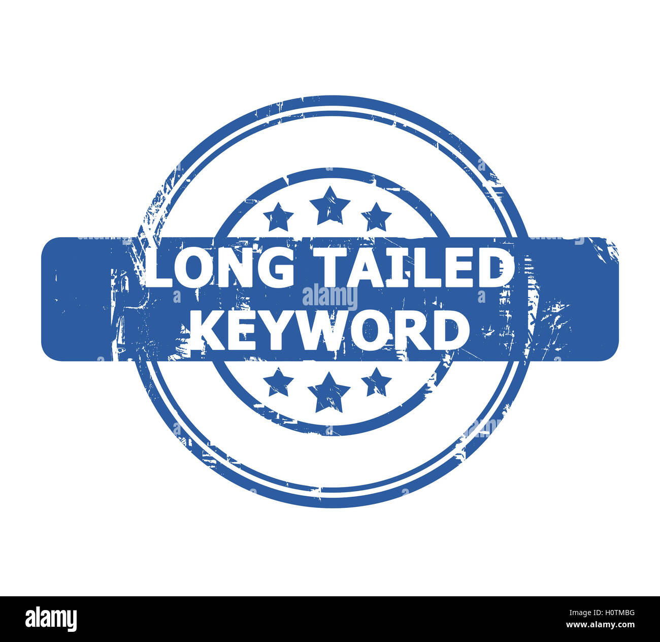 Long Tailed Keyword Stamp with stars isolated on a white background. - Stock Image