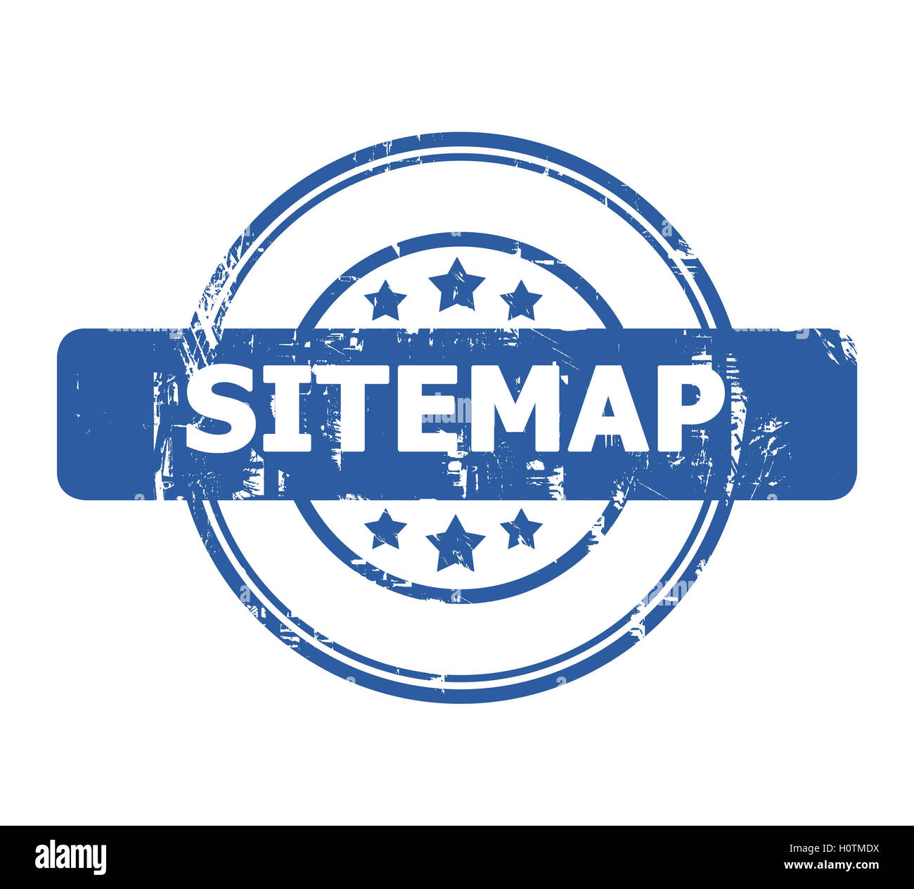 Sitemap Stamp with stars isolated on a white background. - Stock Image