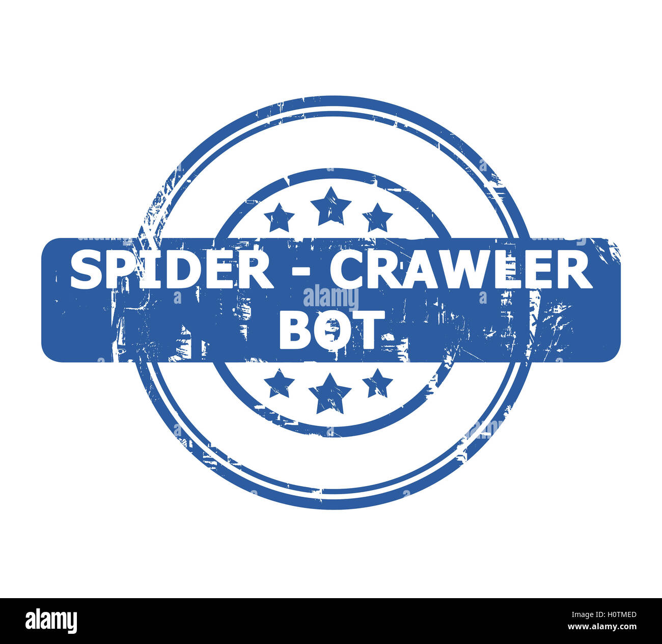 Spider Crawler Bot Stamp with stars isolated on a white background. - Stock Image