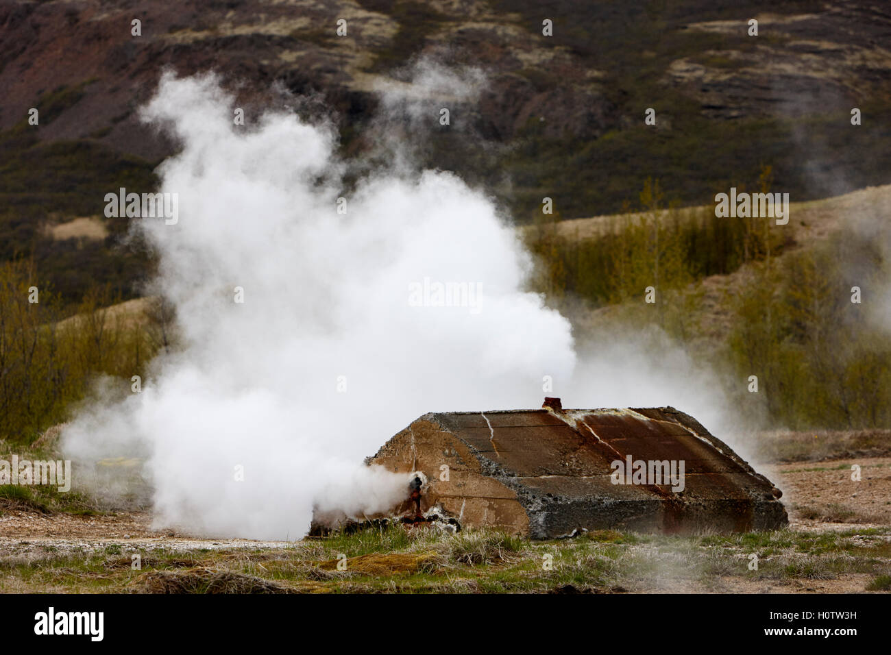 steam rising from artificially capped geyser geysir Iceland - Stock Image