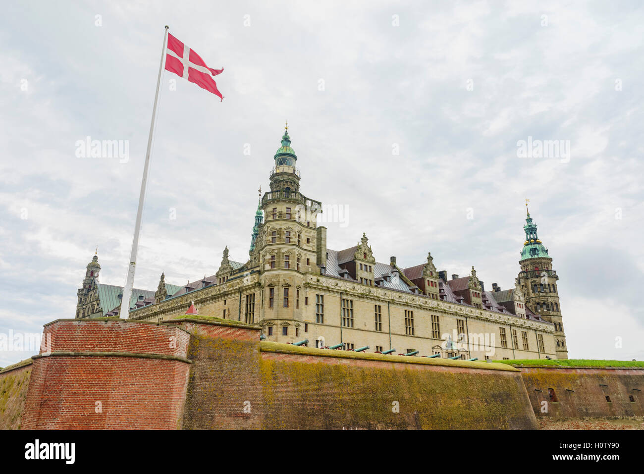 The historical Kronborg Castle at Helsingor, Denmark Stock Photo