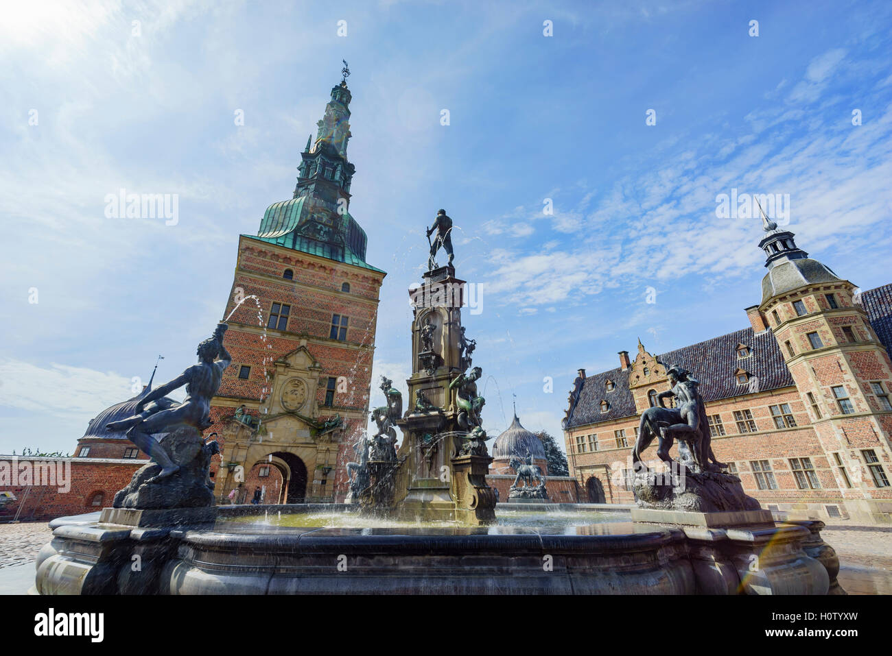 Traveling in the famous Frederiksborg Castle, Copenhagen at summer - Stock Image