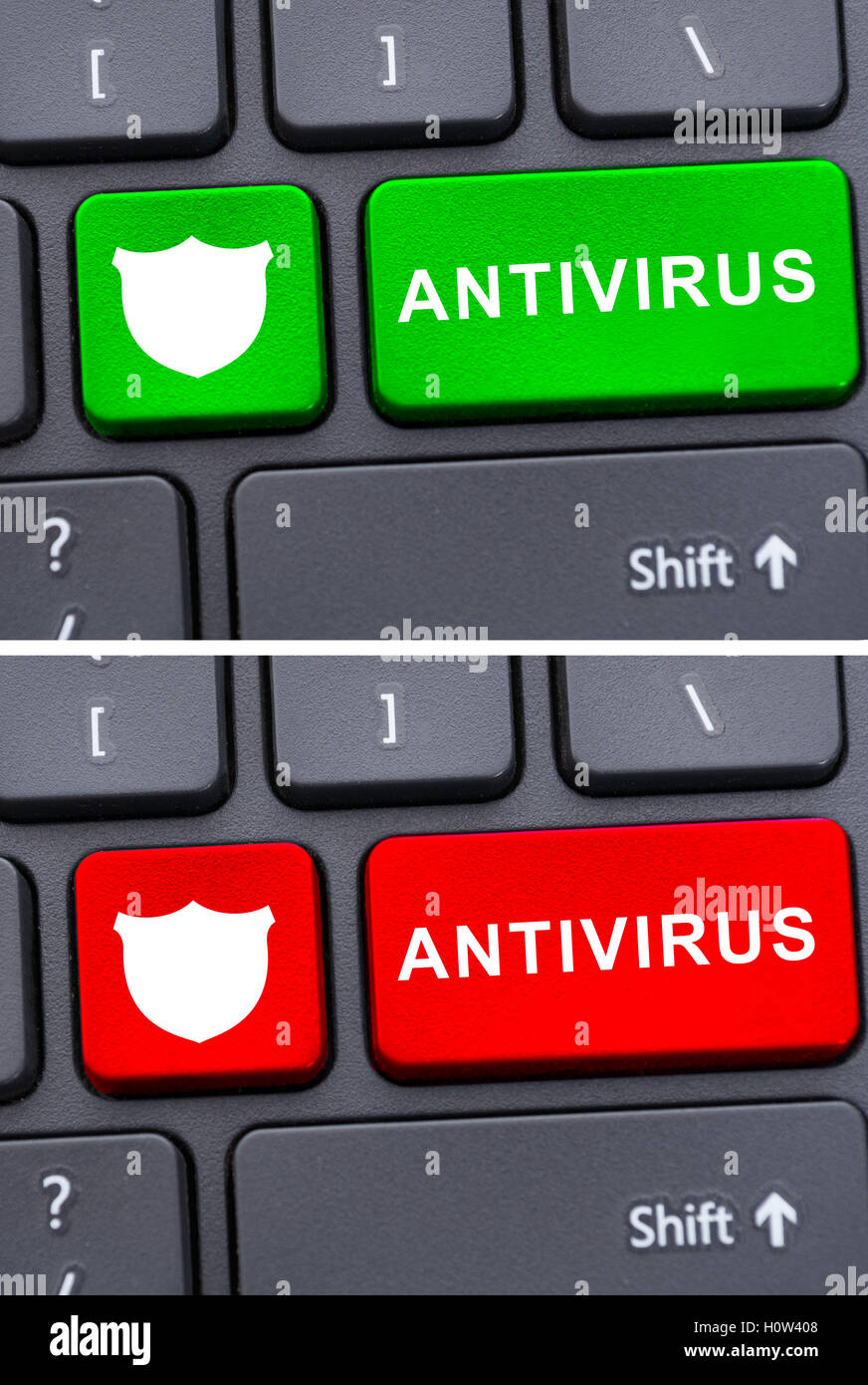Close-up keyboard with antivirus button as malware protection concept - Stock Image