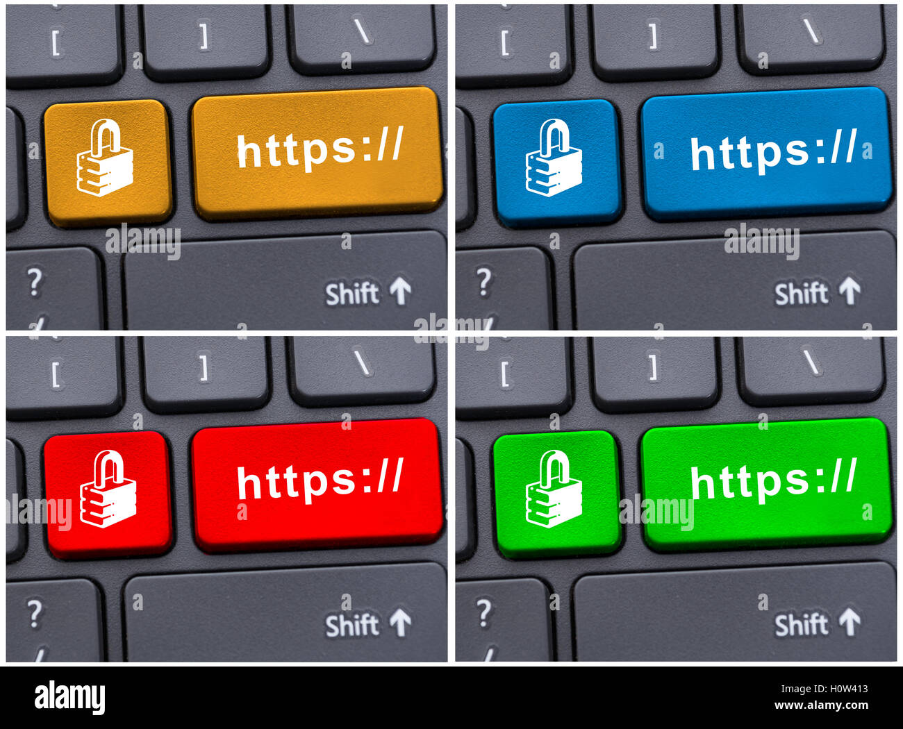 Colored https buttons on modern keyboard as link concept - Stock Image