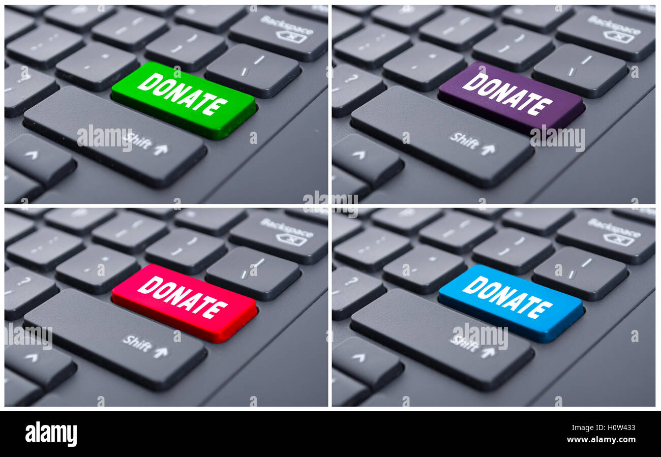 Donate button as online fundraising concept on computer keyboard - Stock Image
