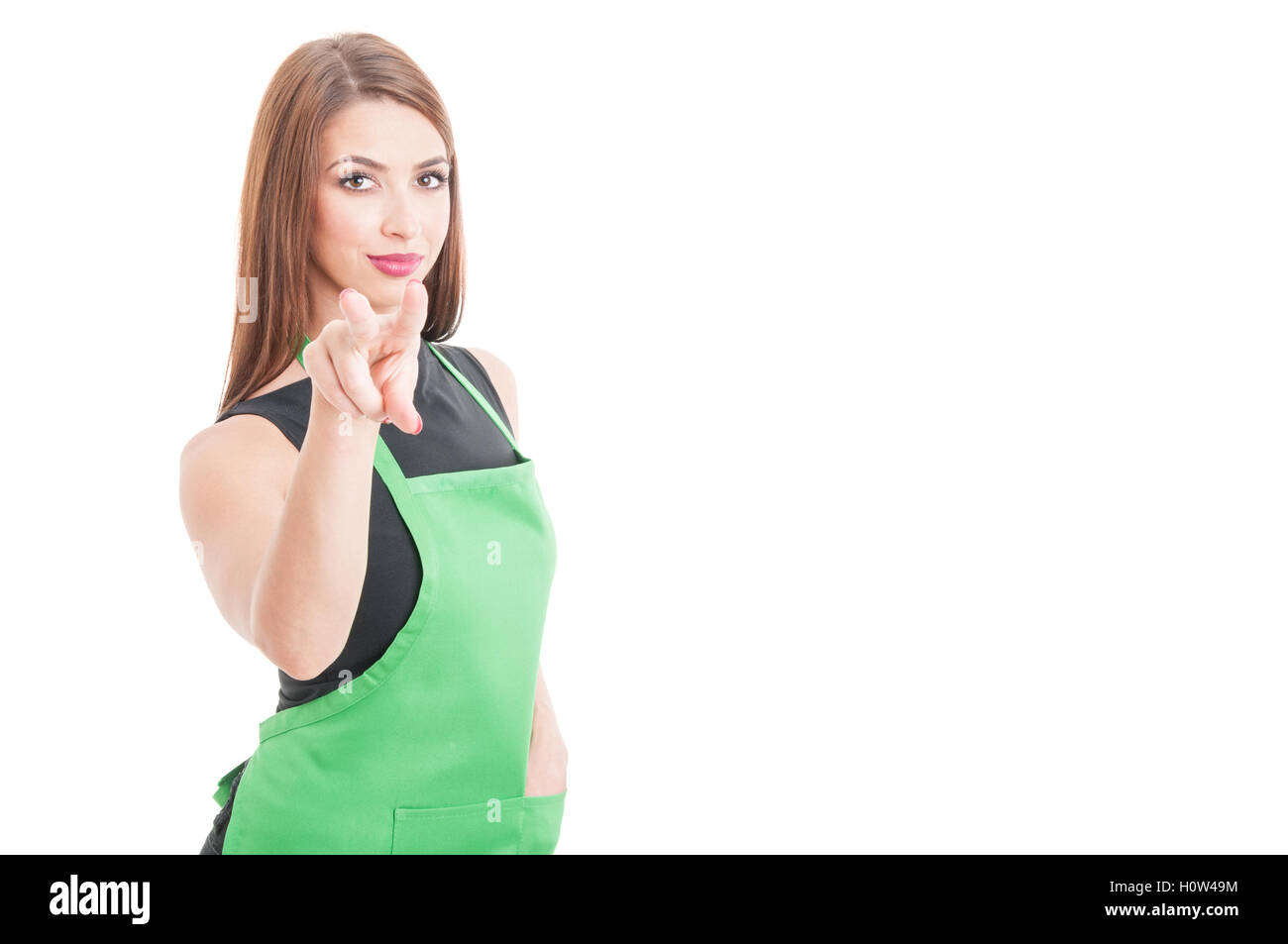 Attractive salesperson supervising or watching you isolated on white with copyspace - Stock Image