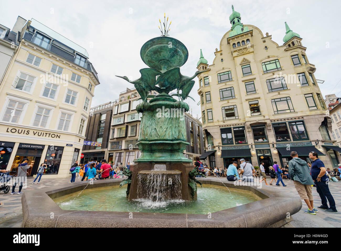 Copenhagen, AUG 28: The historical Stork Fountain on AUG 28, 2016 at Copenhagen, Denmark - Stock Image
