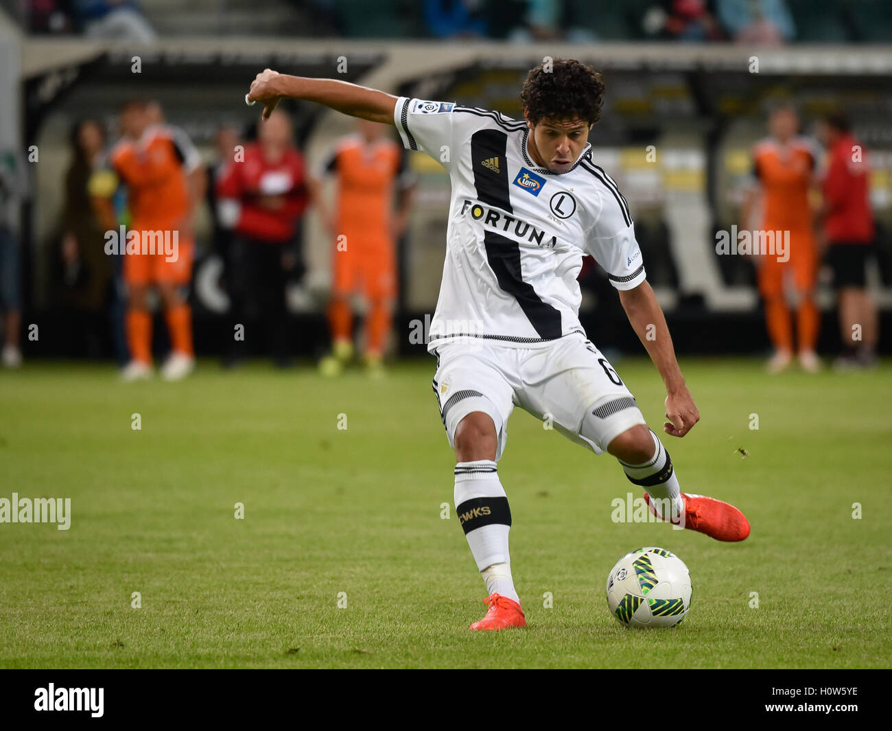 WARSAW, POLAND - SEPTEMBER 18, 2016: Match Polish PremIer League Lotto Ekstraklasa between Legia Warszawa - KGHM - Stock Image