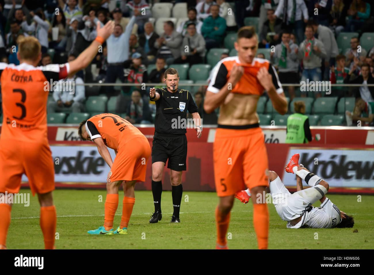WARSAW, POLAND - SEPTEMBER 18, 2016: Match Polish PremIer League Lotto Ekstraklasa between Legia Warszawa - KGHM - Stock Image