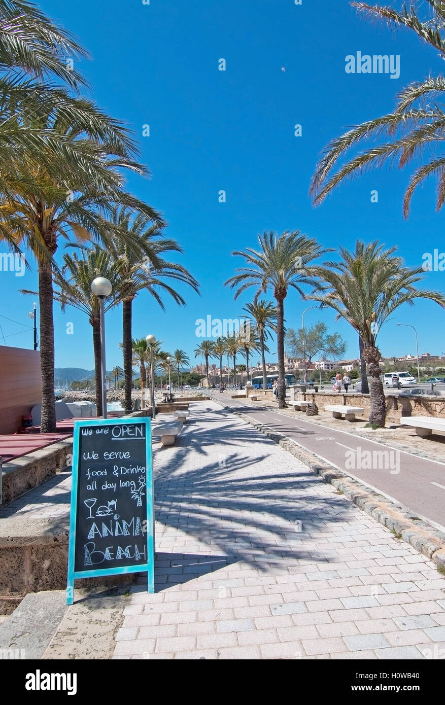 Anima beach bar entrance next to bicycle route in Palma de Mallorca, Balearic islands, Spain on April 10, 2016. - Stock Image