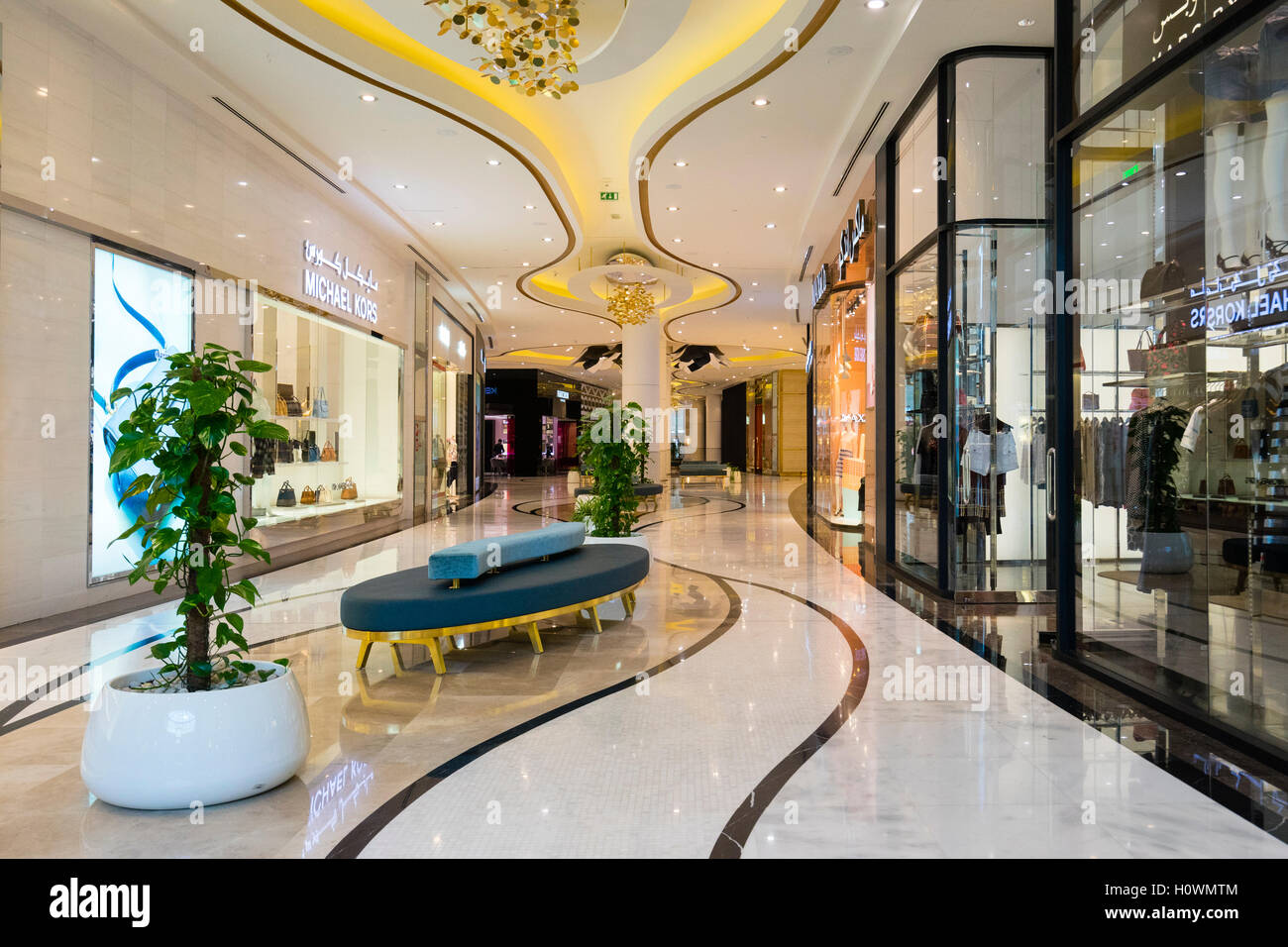 Luxury fashion boutiques inside The Lagoona Shopping Mall in Doha, Qatar - Stock Image