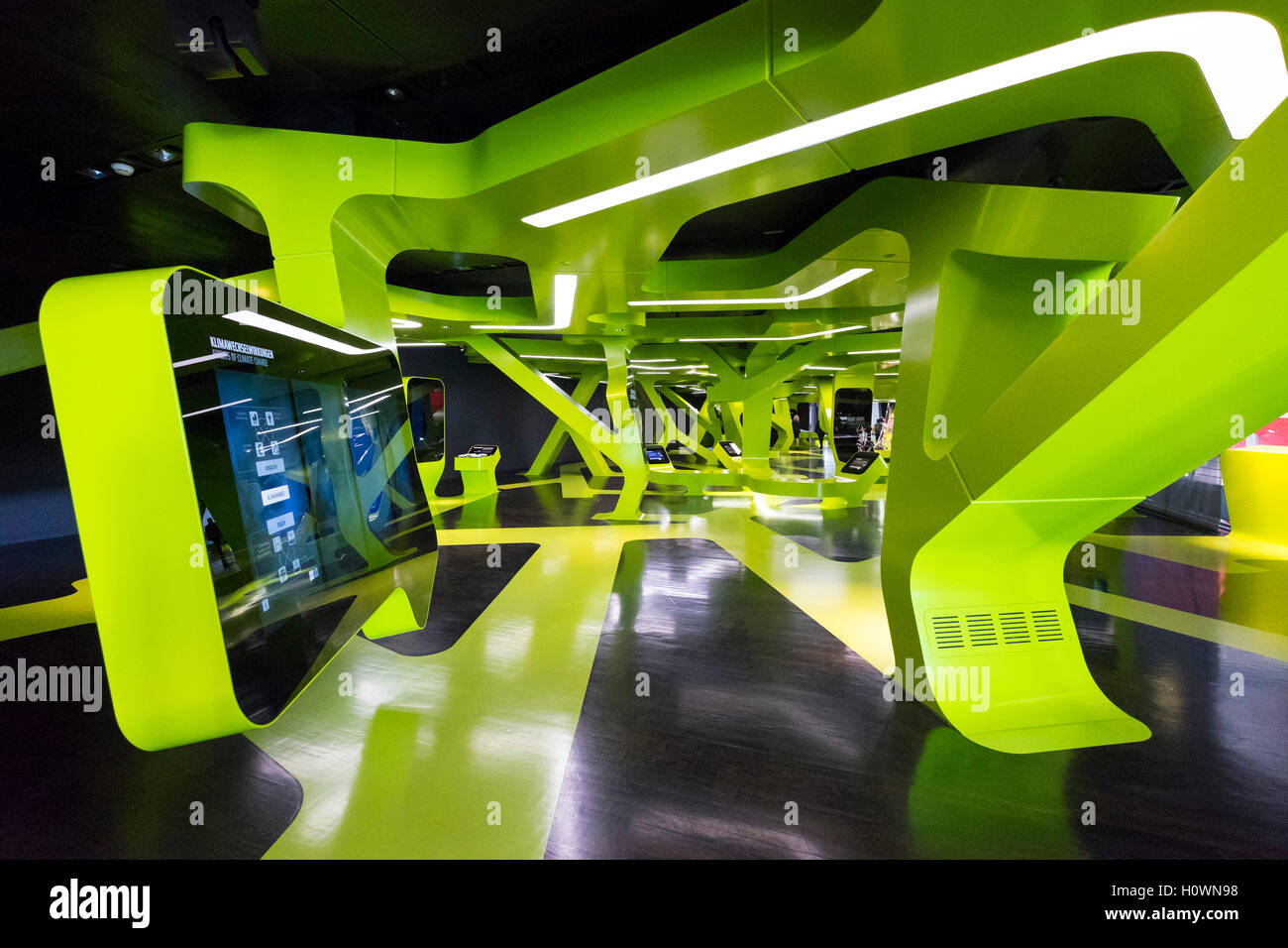 Interior of interactive visitors centre at VW Volkswagen Visitor Centre at Autostadt in Wolfsburg, Germany - Stock Image