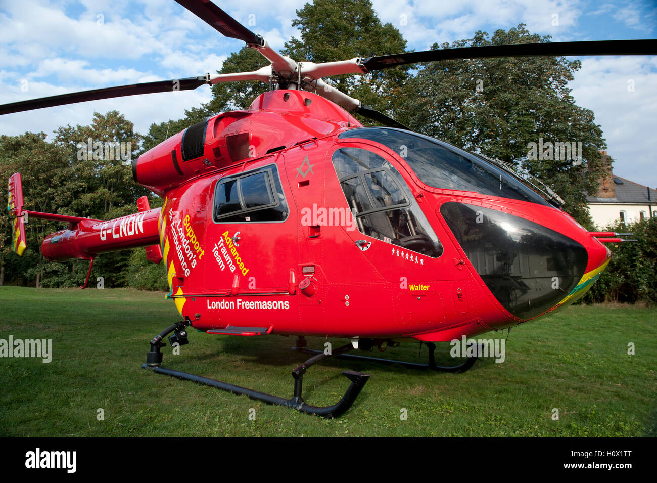 London's Air Ambulance helicopter landed to attend an emergency in Alexandra Palace, London - Stock Image
