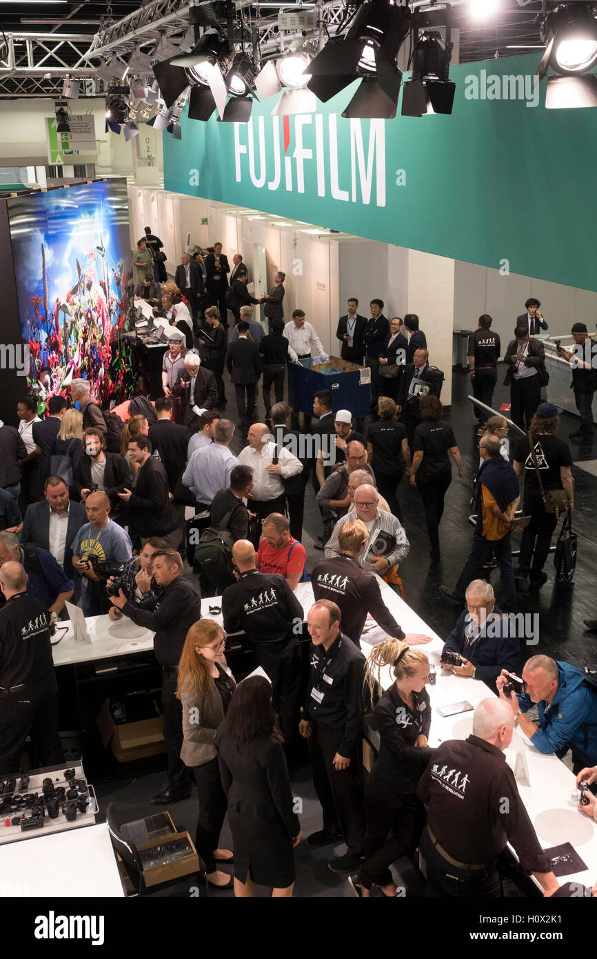 Busy Fujifilm stand at Photokina trade fair in Cologne, Germany , 2016 - Stock Image