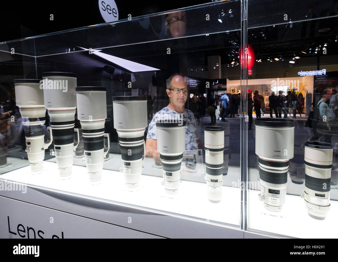 Display of Canon telephoto lenses at Photokina trade fair in Cologne, Germany , 2016 - Stock Image