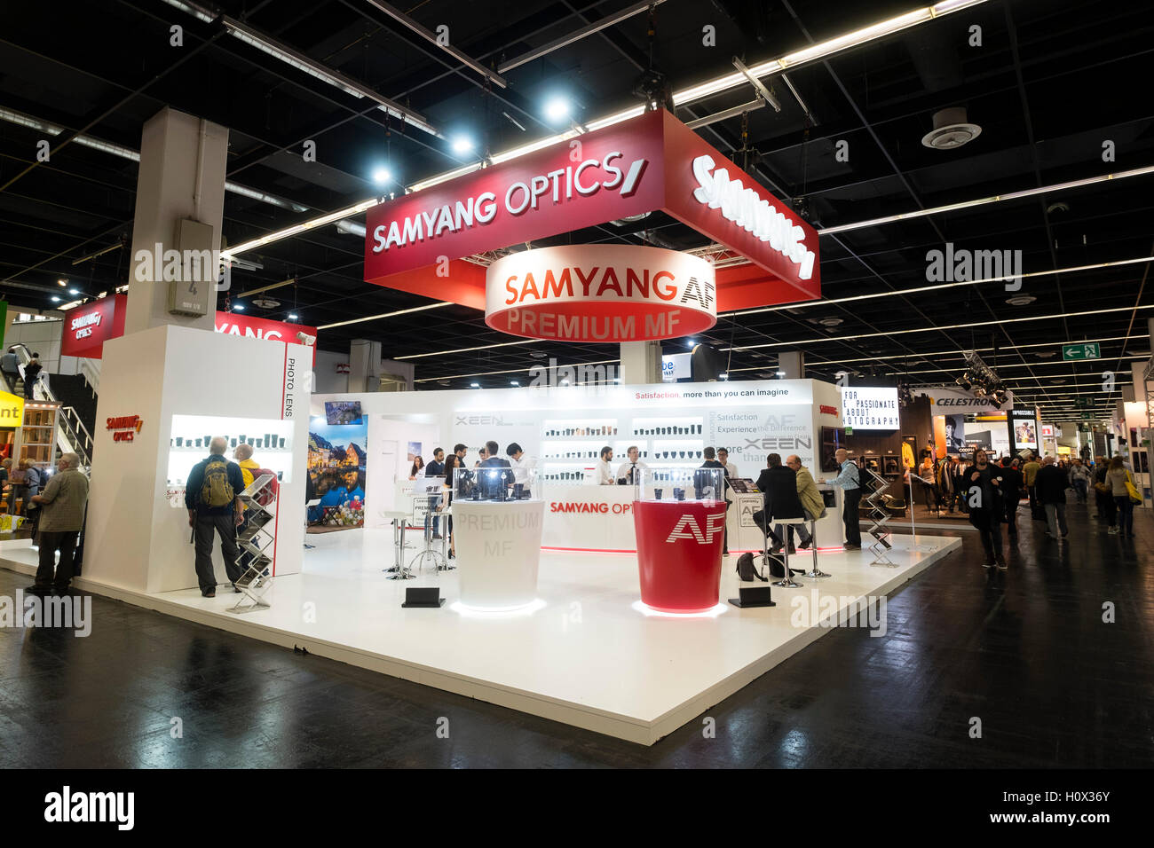 Samyang optics company stand at Photokina trade fair in Cologne, Germany , 2016 - Stock Image