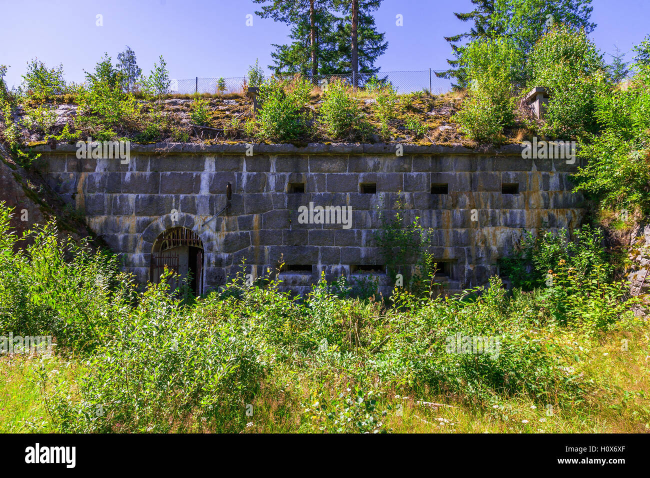 Fortified wall of an old fortress - Stock Image