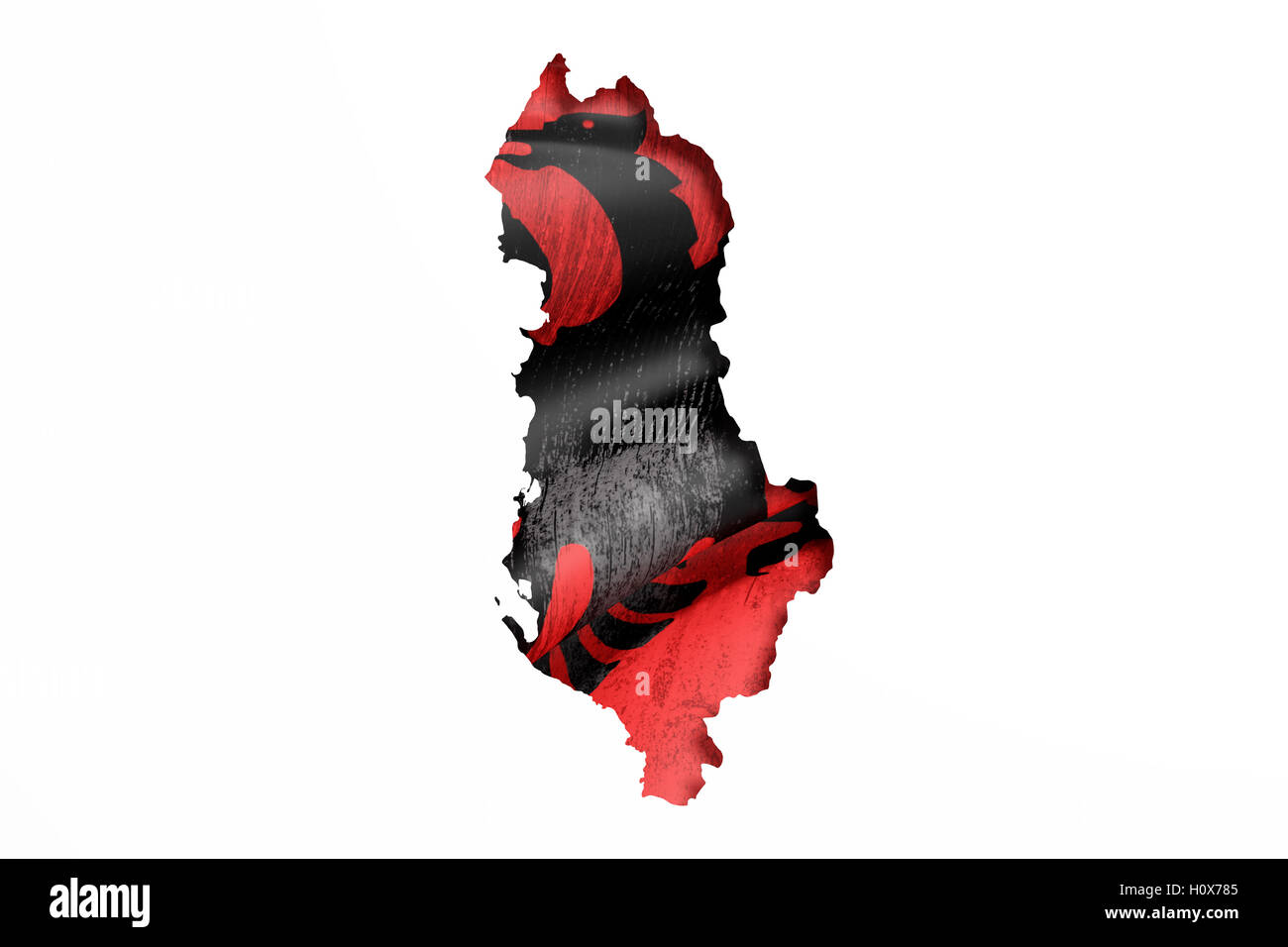 3d rendering of Albania map and flag on white background. - Stock Image