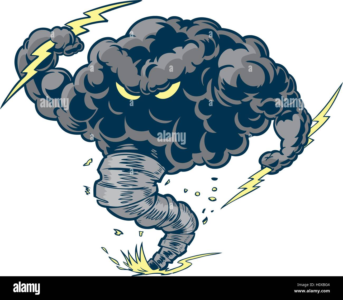Vector cartoon clip art illustration of a tough thundercloud or storm cloud mascot with lightning bolts and a tornado - Stock Vector