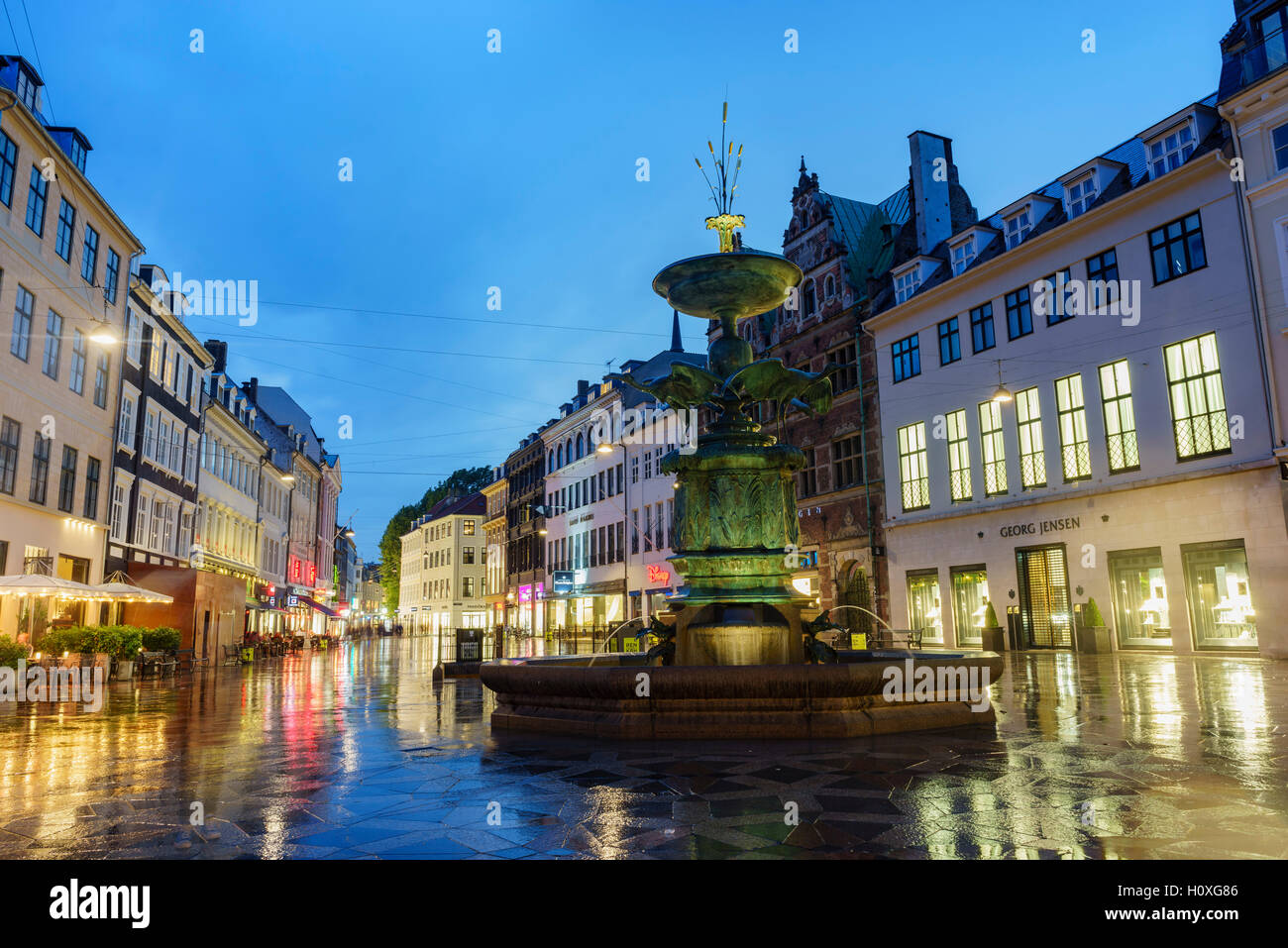 Copenhagen, AUG 28: The historical Stork Fountain nightscape on AUG 28, 2016 at Copenhagen, Denmark - Stock Image