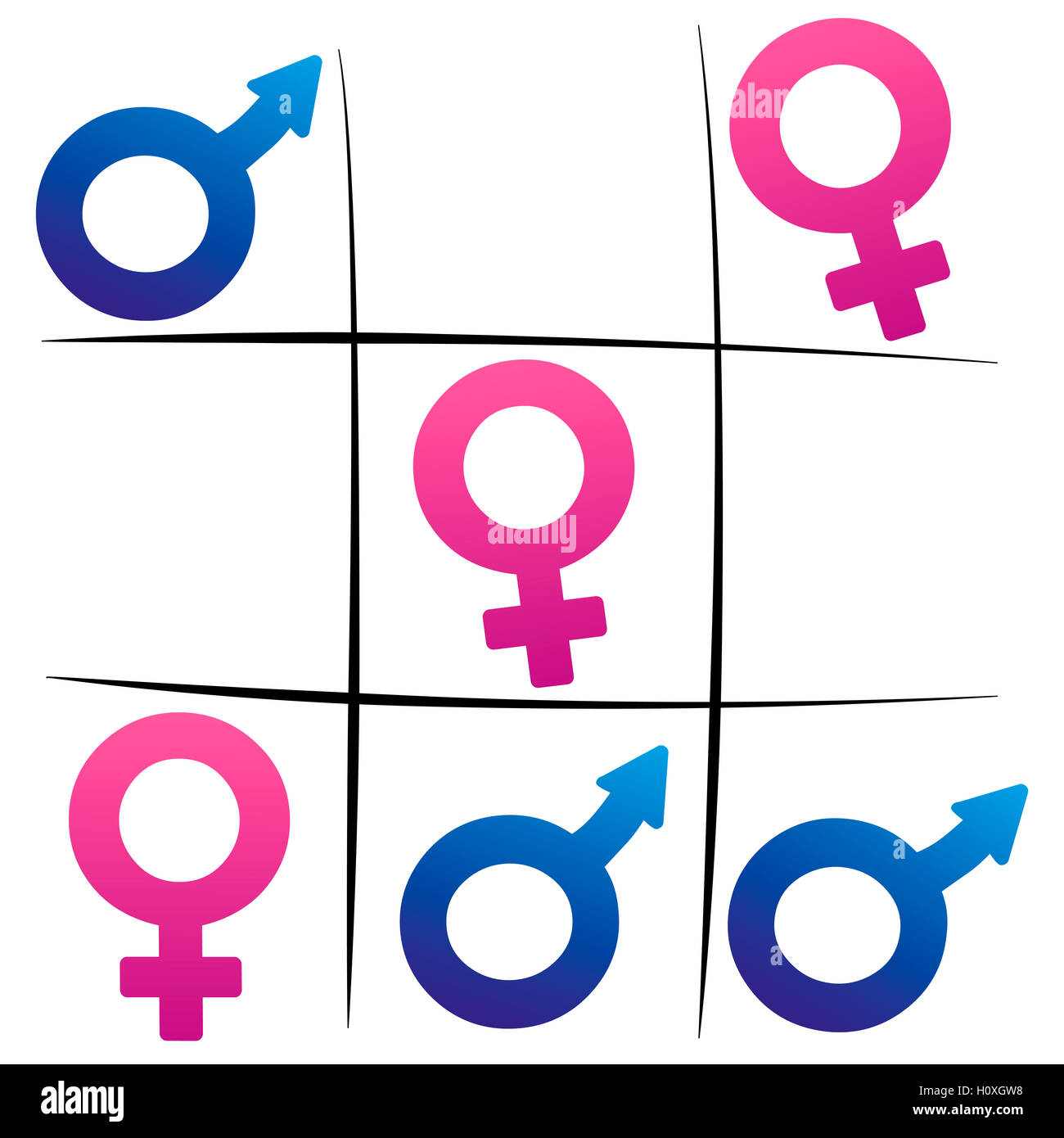 Gender Fight Winning Woman Female And Male Symbols Playing Tic