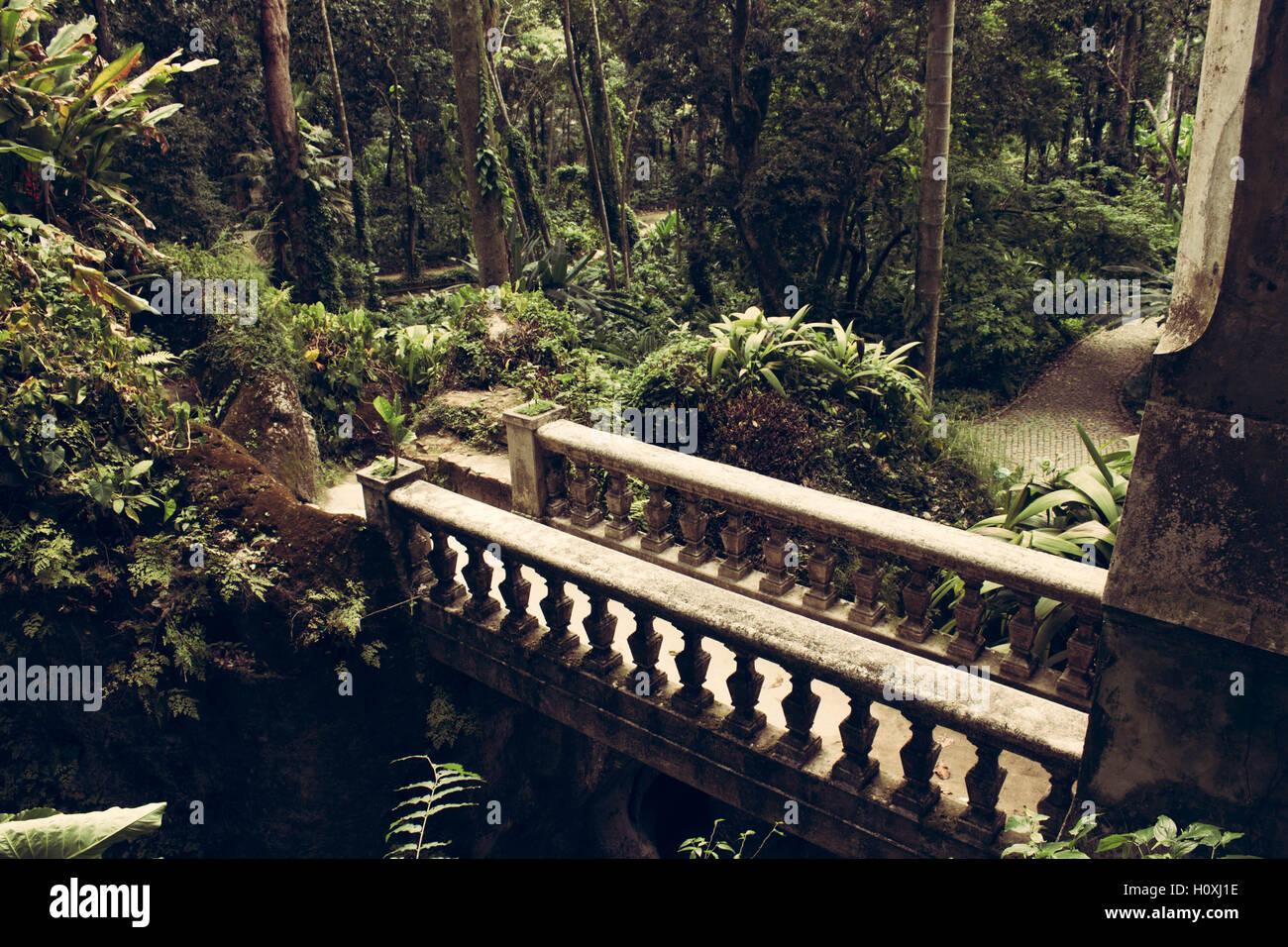 Bridge and garden of Parque Lage, in Rio de Janeiro, Brazil - Stock Image
