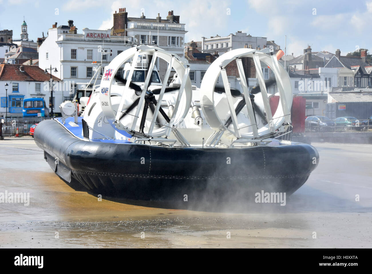 Hovercraft parked on Ryde town centre beach terminal of Hovertravel public transport service Portsmouth to Isle - Stock Image