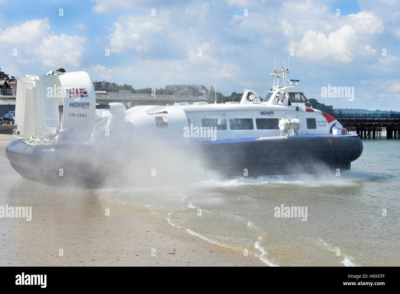Passenger transport Hovercraft GH-2161Island Flyer departing Ryde Isle of Wight for flight across Solent water towards - Stock Image