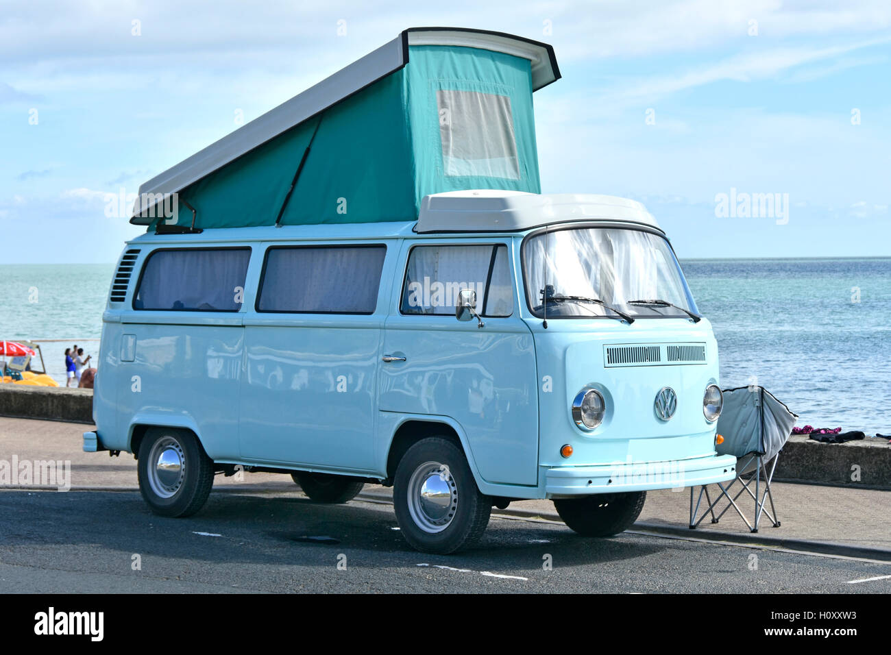 VW volkswagen RV motorhome camper van raised roof parked Shanklin seaside Isle of Wight England UK holiday seafront - Stock Image