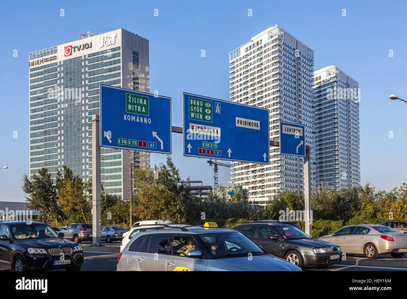 New high-rise apartments and offices, Bratislava, Slovakia, Europe - Stock Image
