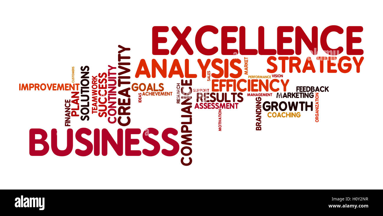 word cloud for business and excellence - Stock Image