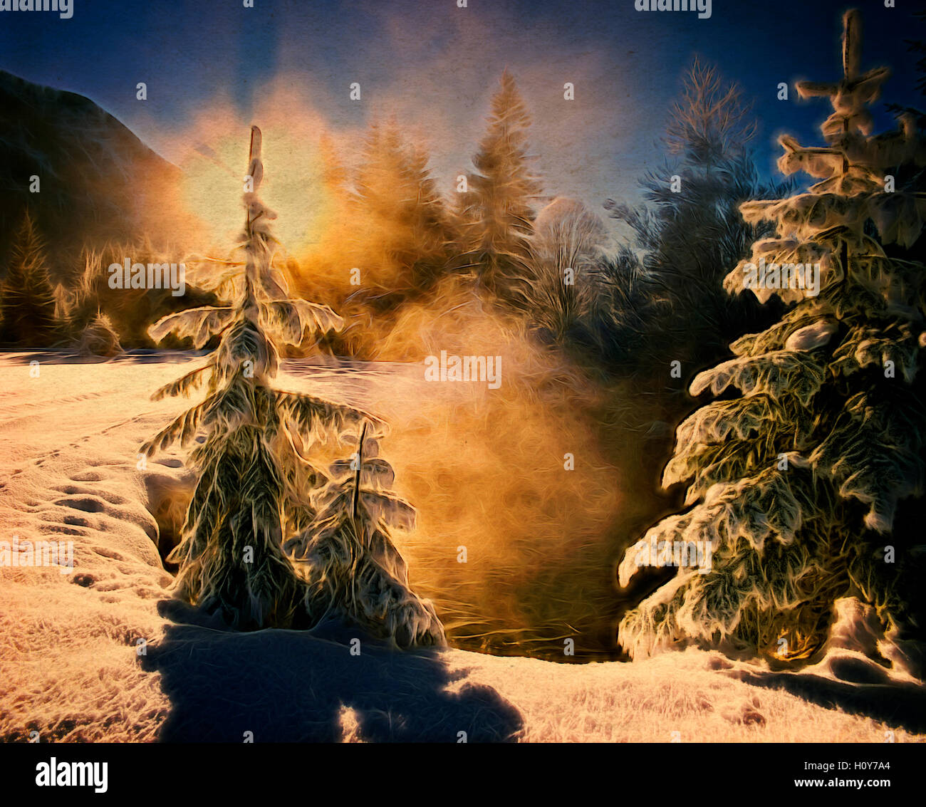 DIGITAL ART: Winterscene near Ettal Stock Photo