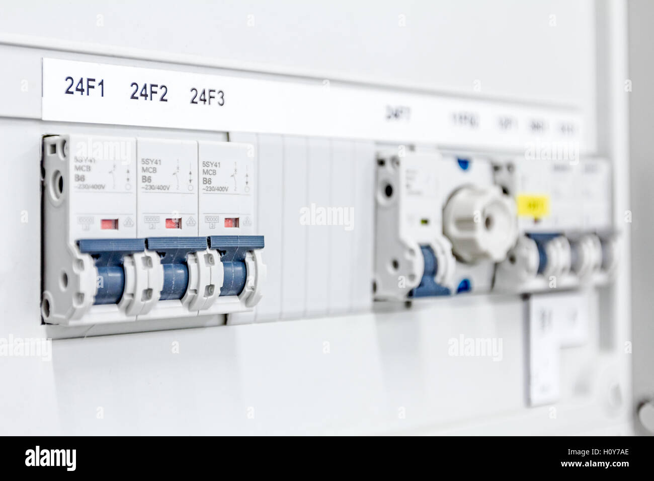 Electrical Distribution Board Stock Photos Wiring Panel Automatic Fuse Connector In Power Lines Located Inside Of Switch Control