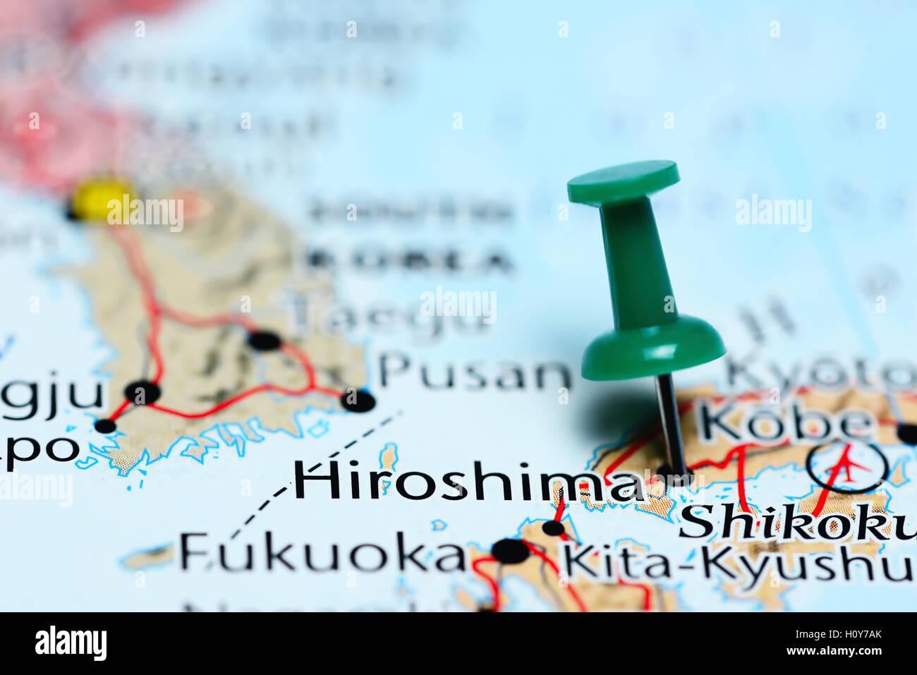 Hiroshima Map Of Japan.Hiroshima Pinned On A Map Of Japan Stock Photo 121071067 Alamy