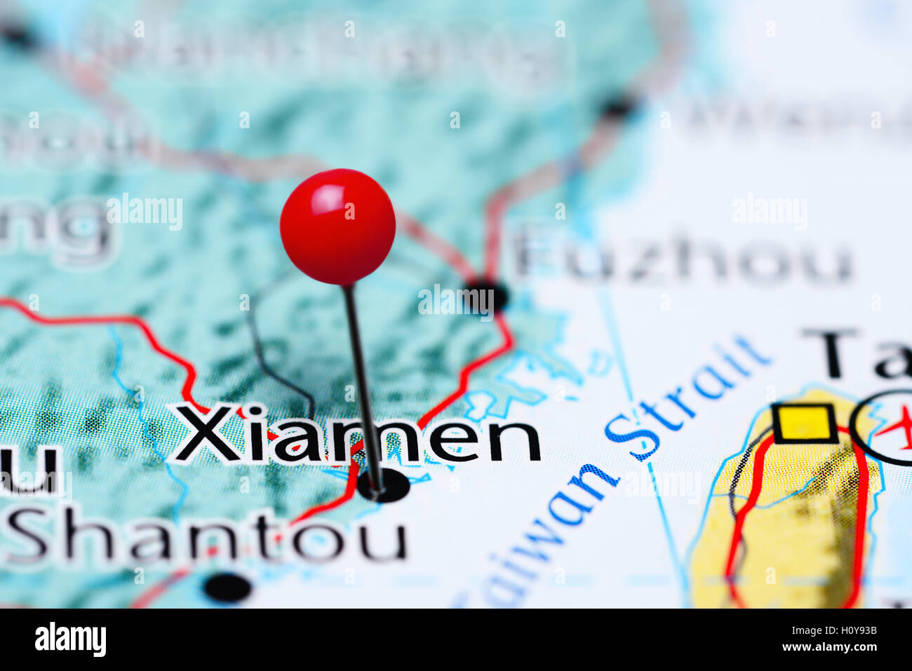 Xiamen pinned on a map of China - Stock Image